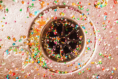 Colourful Confetti In Drain Poster by Jorgo Photography - Wall Art Gallery