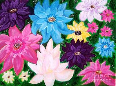 Poster featuring the painting Colourful Flowers by Sonya Nancy Capling-Bacle