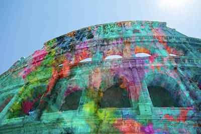 Poster featuring the mixed media Colourful Grungy Colosseum In Rome by Clare Bambers