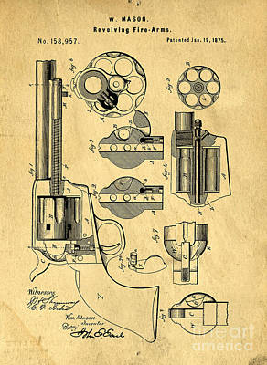 Colt Peacemaker Patent Art Blueprint Drawing Poster by Edward Fielding