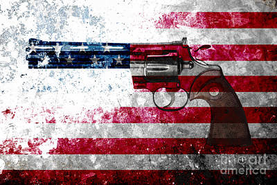 Colt Python 357 Mag On American Flag Poster