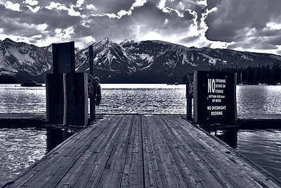 Colter Bay Marina Sunlight Black And White Poster