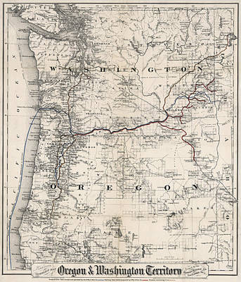 Coltons Washington And Oregon Territories Map 1880 Poster by Daniel Hagerman