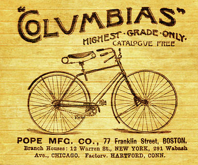 Poster featuring the mixed media Columbia Bicycle Vintage Poster On Wood by Dan Sproul