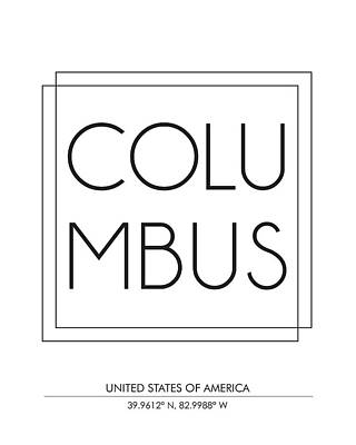 Columbus City Print With Coordinates Poster