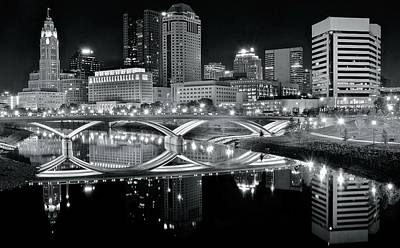 Columbus Ohio Black And White Poster by Frozen in Time Fine Art Photography