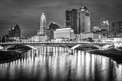 Poster featuring the photograph Columbus Ohio Downtown Skyline In Black And White by Gregory Ballos