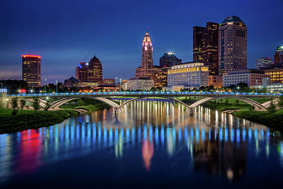 Poster featuring the photograph Columbus Ohio Skyline At Night by Adam Romanowicz