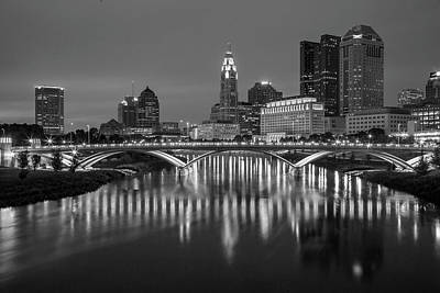 Poster featuring the photograph Columbus Ohio Skyline At Night Black And White by Adam Romanowicz