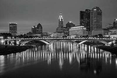 Columbus Ohio Skyline At Night Black And White Poster