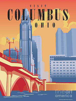Columbus Ohio Skyline Poster by Buckland Gillespie