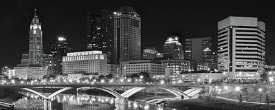 Columbus Panoramic Black And White Night Poster by Frozen in Time Fine Art Photography
