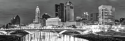 Poster featuring the photograph Columbus Skyline Panorama Black And White - Ohio Usa by Gregory Ballos