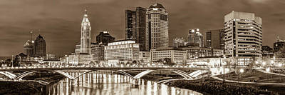 Poster featuring the photograph Columbus Skyline Panorama Sepia - Ohio Usa by Gregory Ballos