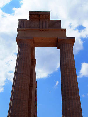 Columns Of The Acropolis In Lindos Rhodes With Blue Sky In Summe Poster