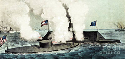 Combat Between The Monitor And The Merrimac During The Civil War Poster by Currier and Ives