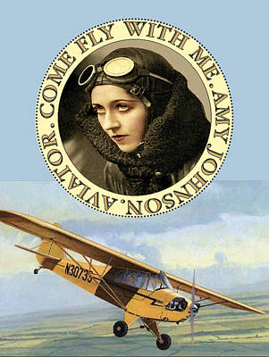 Come Fly Wth Me Vintage Aviator Poster by Sandra McGinley