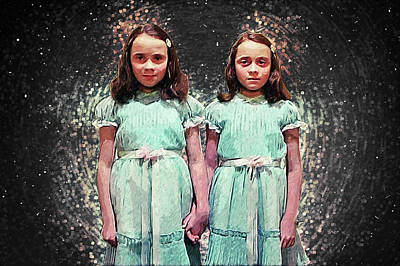 Poster featuring the digital art Come Play With Us - The Shining Twins by Taylan Apukovska
