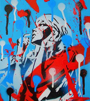 Comic Woman Splash Painting Poster by Leon Keay