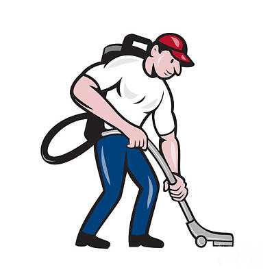 Commercial Cleaner Janitor Vacuum Cartoon Poster by Aloysius Patrimonio