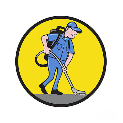 Commercial Cleaner Janitor Vacuum Circle Cartoon Poster by Aloysius Patrimonio