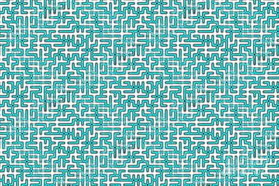 Complex Maze In Green And White Colors Poster