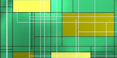 Composition M Ober Bright Green Poster