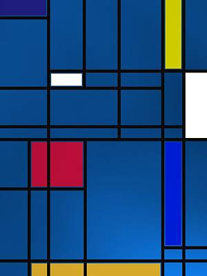 Composition M Over Blue Poster
