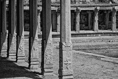 Poster featuring the photograph Composition Of Pillars, Hampi, 2017 by Hitendra SINKAR