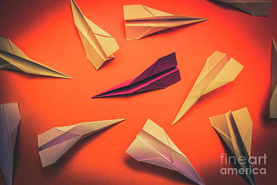 Conceptual Photo Of Arranged Paper Planes On Bright Background Poster by Jorgo Photography - Wall Art Gallery