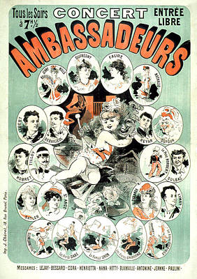 Concert Ambassadeurs Vintage French Advertising Poster 1877 Poster by Presented by Joy of Life Art