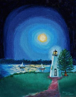 Concord Lighthouse By Moonlight Havre De Grace Poster by Jeannie Allerton