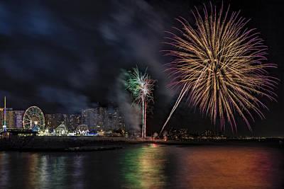 Coney Island Boardwalk Fireworks Poster by Susan Candelario