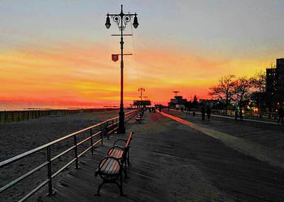 Coney Island Boardwalk Sunset Poster