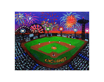 Coney Island Cyclones Fireworks Display Poster by Bonnie Siracusa