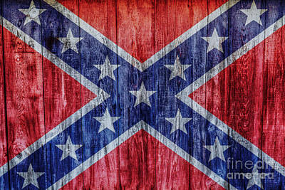 Confederate Flag On Wood Poster