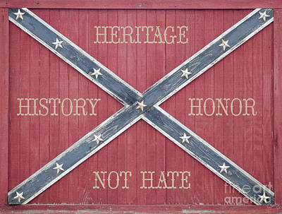 Confederate Flag On Wooden Door Poster