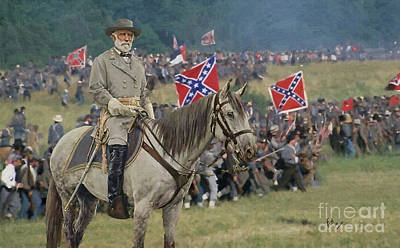 confederate Gen Robert E Lee and traveller his horse Poster by William Mace