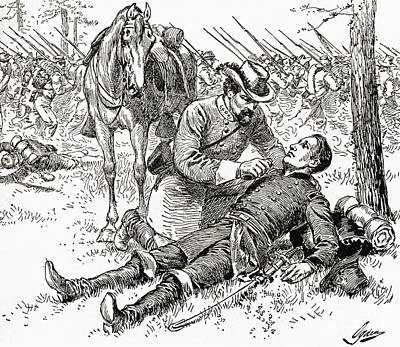 Confederate General John Brown Gordon Assists Wounded Union General Francis Channing Barlow Poster