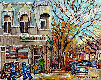 Connie's Pizza Psc Restaurant Painting Beautiful Winter Street Scene Canadian Hockey Carole Spandau Poster by Carole Spandau