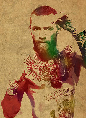 Conor Mcgregor Ufc Fighter Mma Watercolor Portrait On Old Canvas Poster