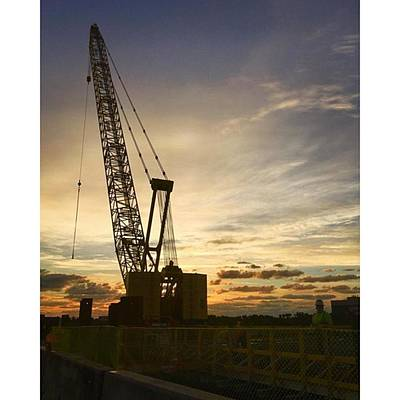 Construction Crane At Sunrise Poster