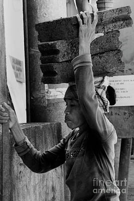 Poster featuring the photograph Construction Labourer - Bw by Werner Padarin