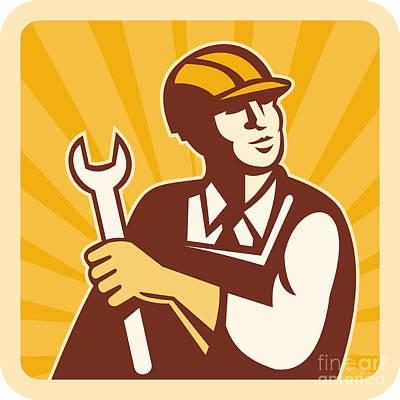 Construction Worker Engineer Poster by Aloysius Patrimonio