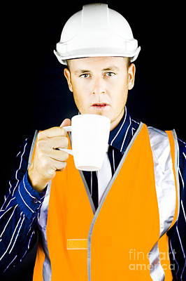 Construction Worker Having Coffee Poster
