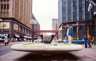 Contemplating The Fountain At 8th And Nicollet. Poster