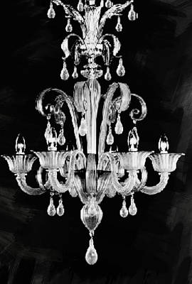 Contemporary Glass Chandelier Poster by Art Spectrum