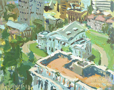 Poster featuring the painting Contemporary Richmond Virginia Cityscape Painting Featuring Virginia State Capitol Building by Robert Joyner