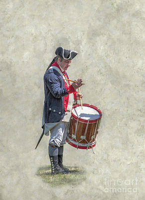 Poster featuring the digital art Continental Army Drummer American Revolution by Randy Steele