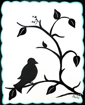 Contrast Black And White Birdie Poster